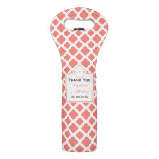 Coral Pink Quatrefoil Pattern Wedding Thank You Wine Bag