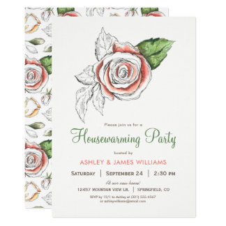 Coral Pink Rose Housewarming Party Invitation