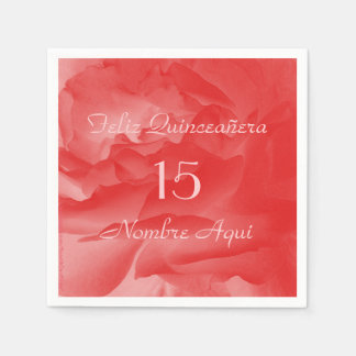 Coral Pink Rose Paper Napkins, Quinceanera Disposable Napkin
