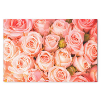 Coral Pink Roses Tissue Paper