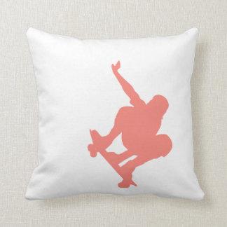 Coral Pink Skater Throw Pillow