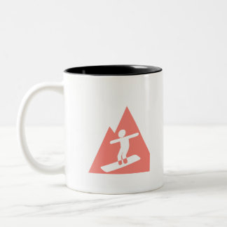 Coral Pink Snowboard Two-Tone Coffee Mug