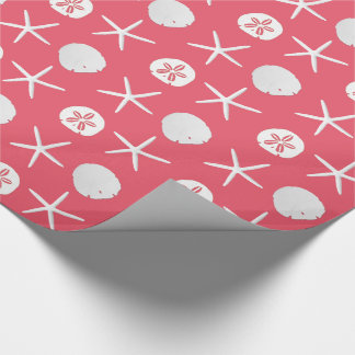 Coral Pink Starfish Sand Dollars Pattern