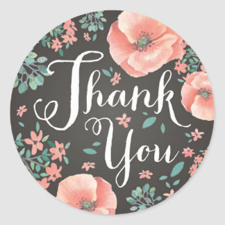 Coral Pink Thank You Sticker