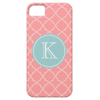 Coral pink trellis lattice pattern iPhone 5 cover