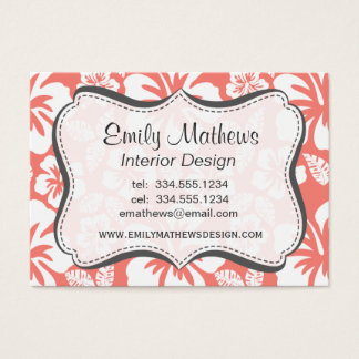 Coral Pink Tropical Hibiscus Business Card