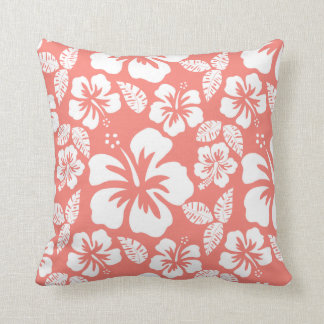 Coral Pink Tropical Hibiscus Throw Pillow