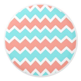Coral Pink Turquoise Aqua Blue Chevron Pattern Ceramic Knob