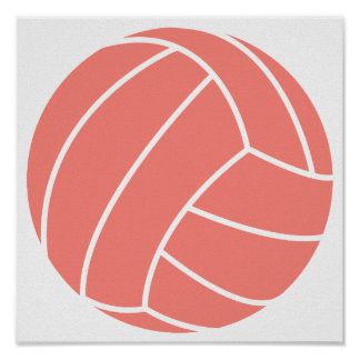 Coral Pink Volleyball Posters