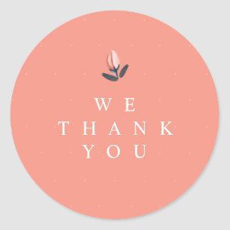 Coral Pink Watercolour Rosebud Floral Thank You Classic Round Sticker