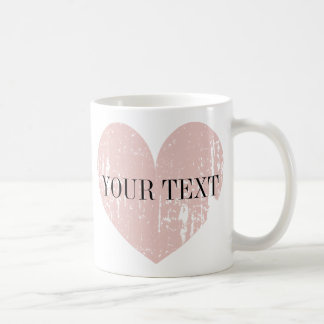 Coral pink weathered heart personalized coffee mug