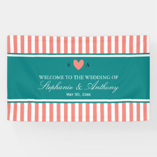Coral Pink, White and Teal Wedding Banner