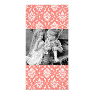 Coral Pink White Classic Damask Pattern Photo Greeting Card