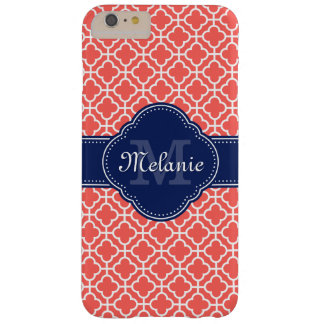Coral Pink Wht Moroccan Pattern Navy Monogram Barely There iPhone 6 Plus Case