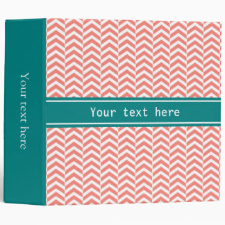 Coral Pink with Teal Chevron Pattern Binders