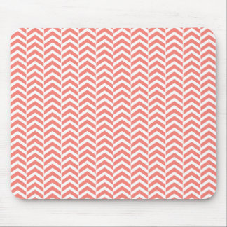 Coral Pink with Teal Chevron Pattern Mouse Pad
