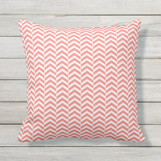 Coral Pink with Teal Chevron Pattern Throw Pillow