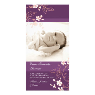 Coral Plum Thank You Baby Shower Photo Cards