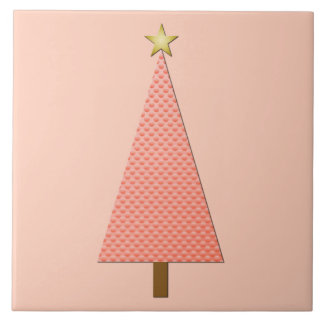 Coral polka dot modern Christmas tree Tiles