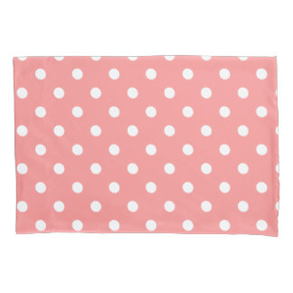Coral Polka Dot Pillowcase