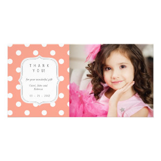 Coral Polka Dots - Any Occasion Thank you Picture Card