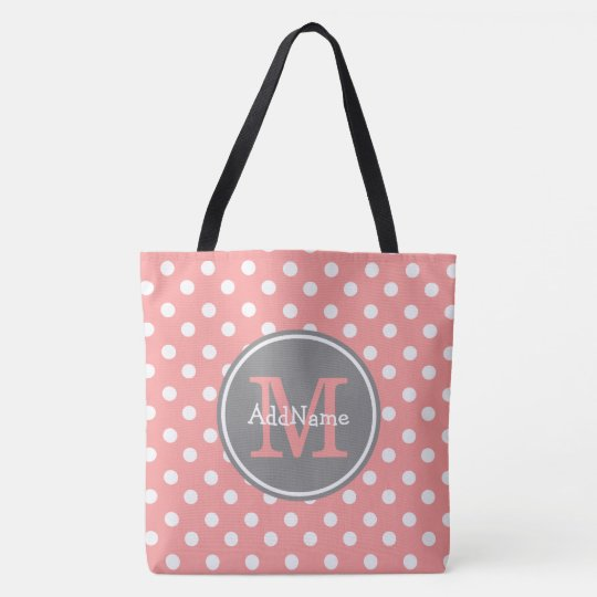 Coral Polka Dots Grey Monogram & Personalized Name Tote Bag