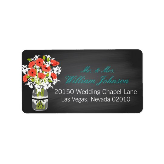 Coral Poppies Jar Chalkboard Wedding Label