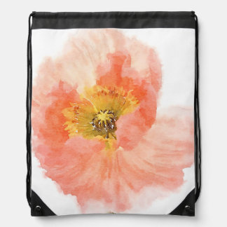 Coral Poppy Drawstring Backpack