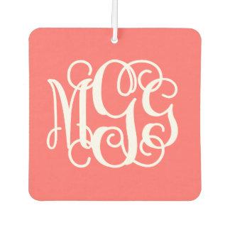 Coral Preppy Script Monogram - MGG Car Air Freshener