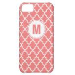 Coral Quatrefoil Monogram IPhone 5 Case