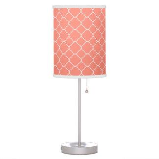 Coral Quatrefoil Pattern Table Lamp