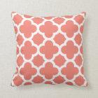 Coral Quatrefoil Throw Pillow