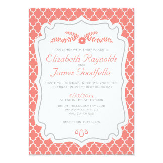 Coral Quatrefoil Wedding Invitations