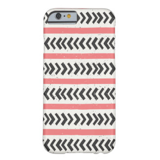 Coral Red and Black Geometric Tribal Pattern Barely There iPhone 6 Case