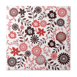 Coral red and brown pattern floral tiles