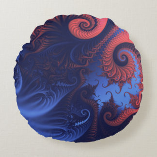 Coral red and indigo blue tentacles round pillow