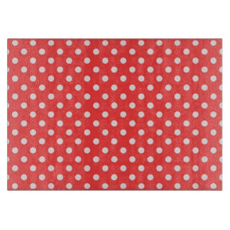 Coral Red and White Polka Dot Pattern Cutting Boards