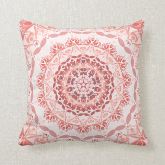Coral Red Apricot Damask Mandala Throw Pillow