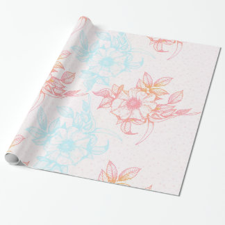 Coral-Red & Blue Vintage Flowers Pattern Wrapping Paper