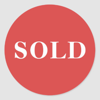 Coral Red Classic Typography Custom Sold Classic Round Sticker