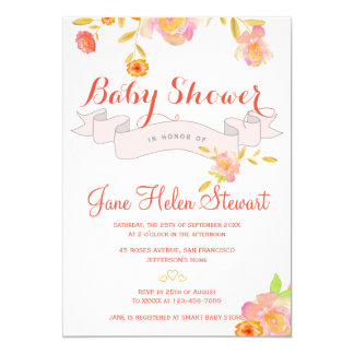 Coral red floral watercolor ribbon baby shower card