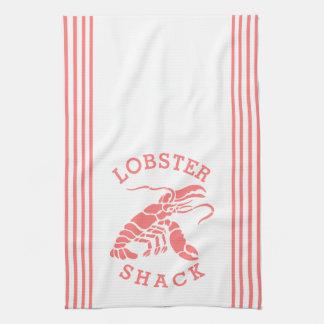 Coral Red Lobster & Stripes Design Kitchen Towels