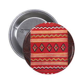 Coral Red Native American Indian Blanket 2 Inch Round Button