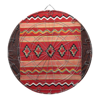 Coral Red Native American Indian Blanket Dartboard With Darts
