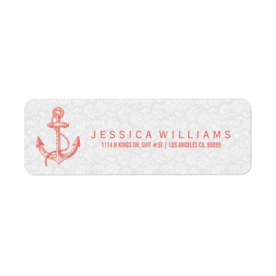Coral-red Nautical Boat Anchor & Stripes