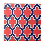 Coral Red Navy White Moroccan Quatrefoil #4DS