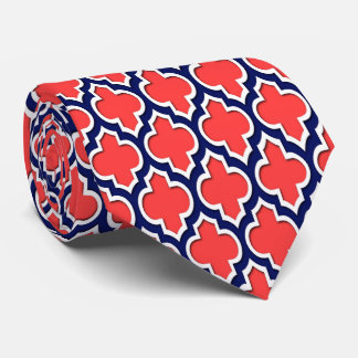 Coral Red Navy White Moroccan Quatrefoil #4DS Tie