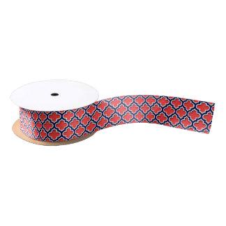 Coral Red, Navy White Moroccan Quatrefoil #5DS Satin Ribbon