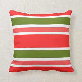 Coral Red Pink Olive Green White Stripes Pattern Throw Pillow