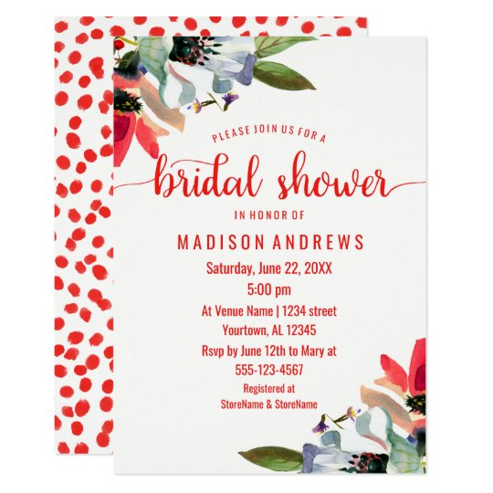 Coral Red Poppy Floral Bridal Shower Invitation